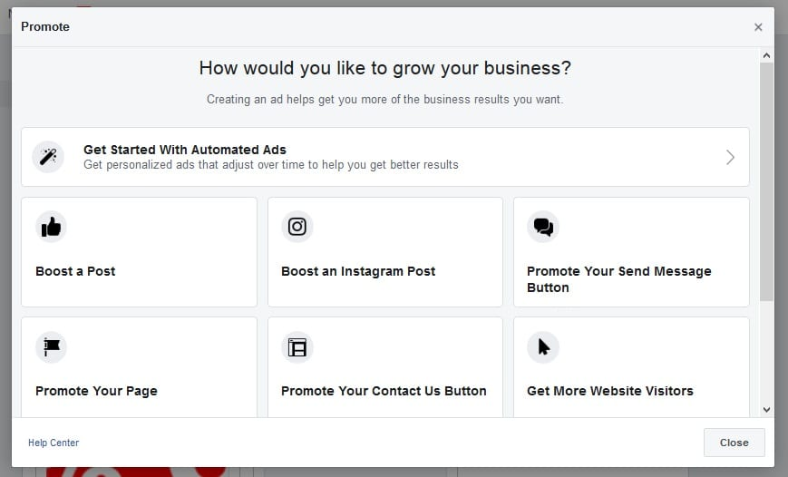 Setup Facebook Ad - Ad Type